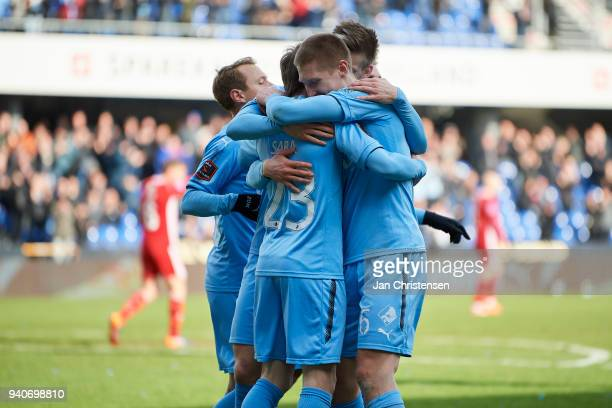 The players of Randers FC celebrating the 10 goal from Saba Lobzhanidze during the Danish Alka Superliga match between Randers FC and Lyngby BK at...