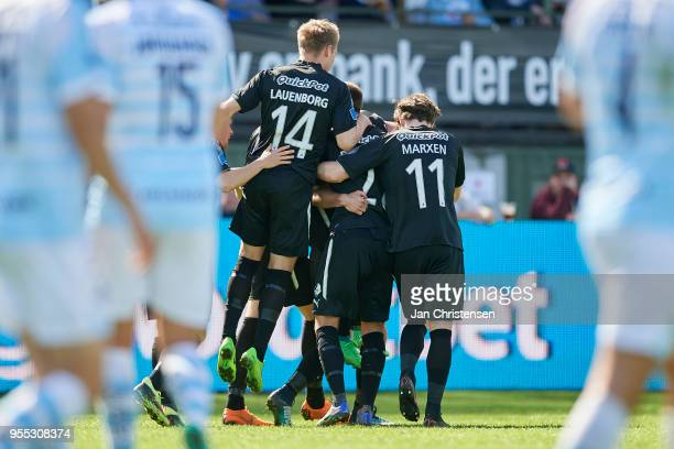 The players of Randers FC celebrating the 11 goal from Bashkim Kadrii during the Danish Alka Superliga match between FC Helsingor and Randers FC at...