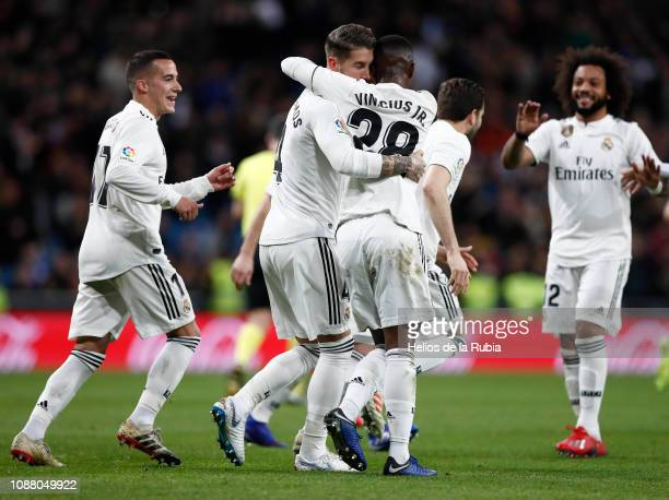 The players of Real Madrid celebrate after scoring a goal during the Copa del Rey Quarter Final match between Real Madrid and Girona at Estadio...