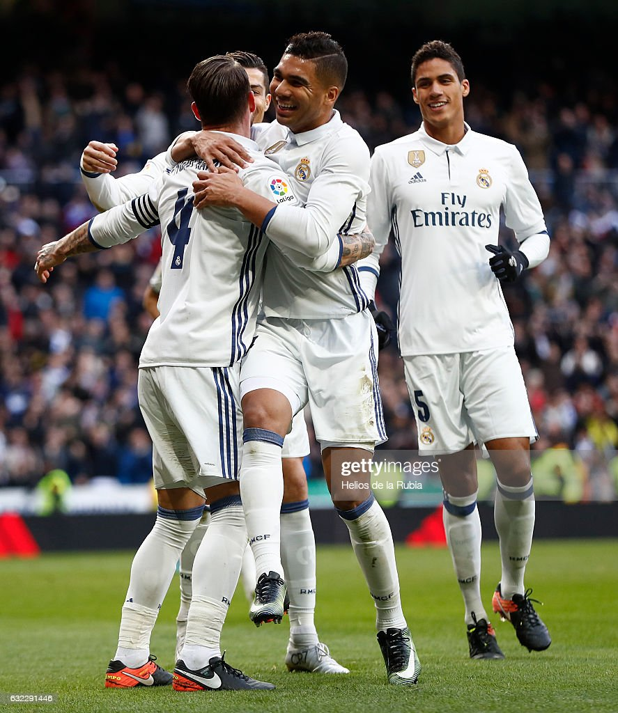 The players of Real Madrid celebrate after scoring during the La Liga match between Real Madrid and Malaga CF at Estadio Santiago Bernabeu on January 21, 2017 in Madrid, Spain.