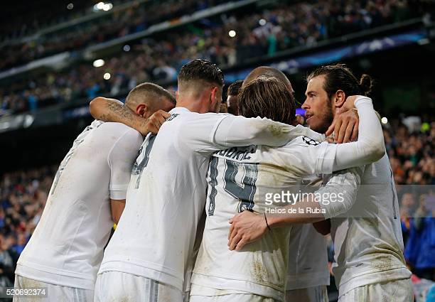 The players of Real Madrid celebrate after scoring during the UEFA Champions League quarter final second leg match between Real Madrid and VfL...