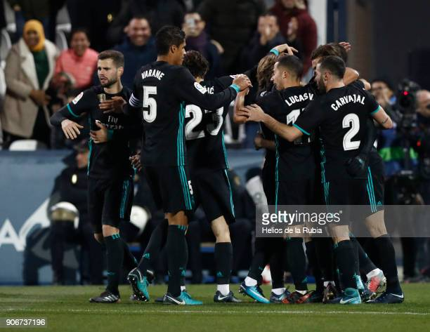 The players of Real Madrid celebrates with team mates after scoring the opening goal during the Spanish Copa del Rey Quarter Final First Leg match...