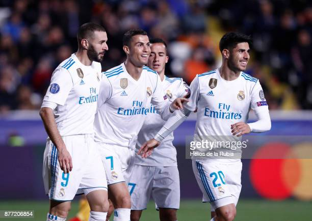 The players of Real Madrid CF celebrate after scoring during the UEFA Champions League group H match between APOEL Nikosia and Real Madrid at GSP...