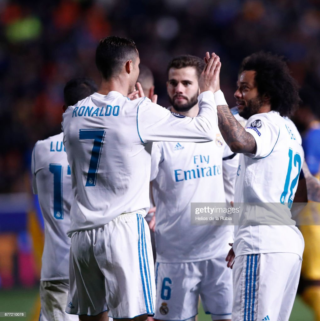 The players of Real Madrid CF celebrate after scoring during the UEFA Champions League group H match between APOEL Nikosia and Real Madrid at GSP Stadium on November 21, 2017 in Nicosia, Cyprus.