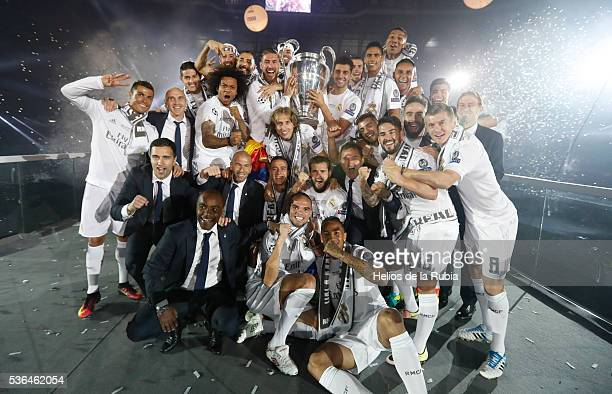 The players of Real Madrid CF during Real Madrid CF team celebration at Santiago Bernabeu Stadium the day after winning the UEFA Champions League...