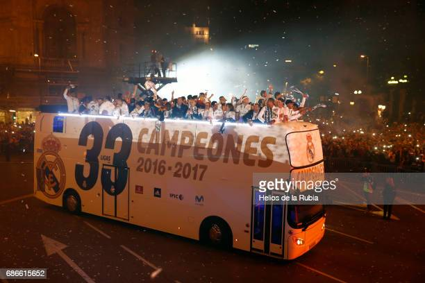 The players of Real Madrid during celebrations at Cibeles Fountain after winning the 2016/17 Spanish football league at Madrid on May 21 2017