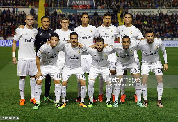 The players of Real Madrid pose after the La Liga match between Levante UD and Real Madrid at Ciutat de Valencia on March 02 2016 in Valencia Spain