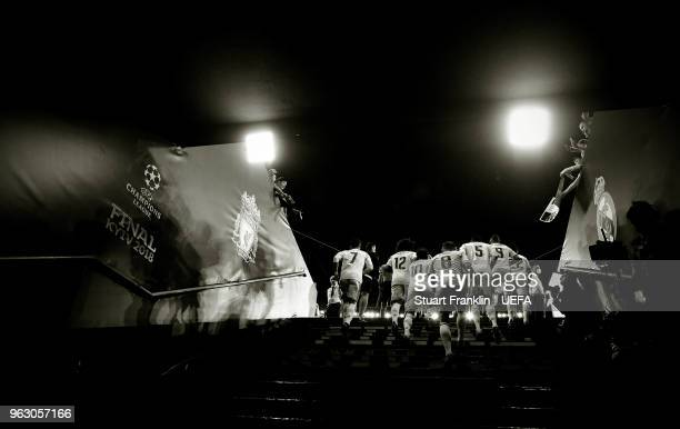 The players of Real Madrid walk up the player tunnel steps during UEFA Champions League Final match between Real Madrid and Liverpool during the UEFA...