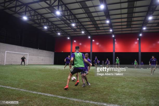 The players of River Plate during a training session at CAT Alfredo Gottardi on May 21 2019 in Curitiba Brazil River Plate will face Atletico...