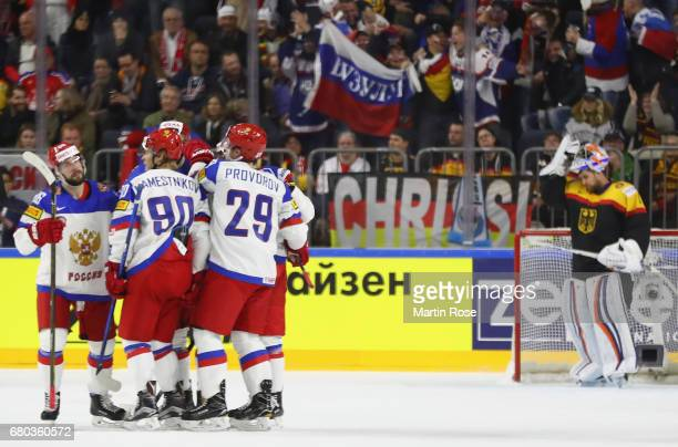 The players of Russia celebrate the third goal scored by Ivan Provorov during the 2017 IIHF Ice Hockey World Championship game between Germany and...