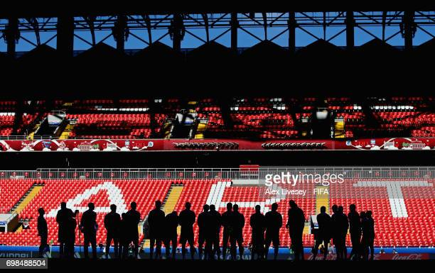 The players of Russia stand together prior to a training session at Spartak Stadium during the FIFA Confederations Cup Russia 2017 on June 20, 2017...