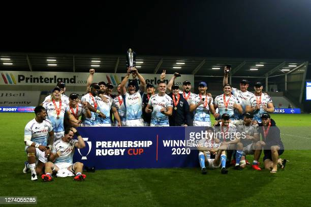 The players of Sale Sharks lift the trophy following victory in the Premiership Rugby Cup Final between Sale Shark and Harlequins at AJ Bell Stadium...