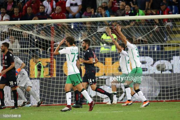 The players of Sassuolo reacts during the serie A match between Cagliari and US Sassuolo at Sardegna Arena on August 26 2018 in Cagliari Italy