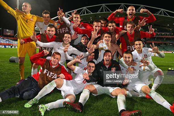 The players of Serbia celebrate after victory over USA in a penalty shoot out in the FIFA U20 World Cup Quarter Final match between USA and Serbia at...