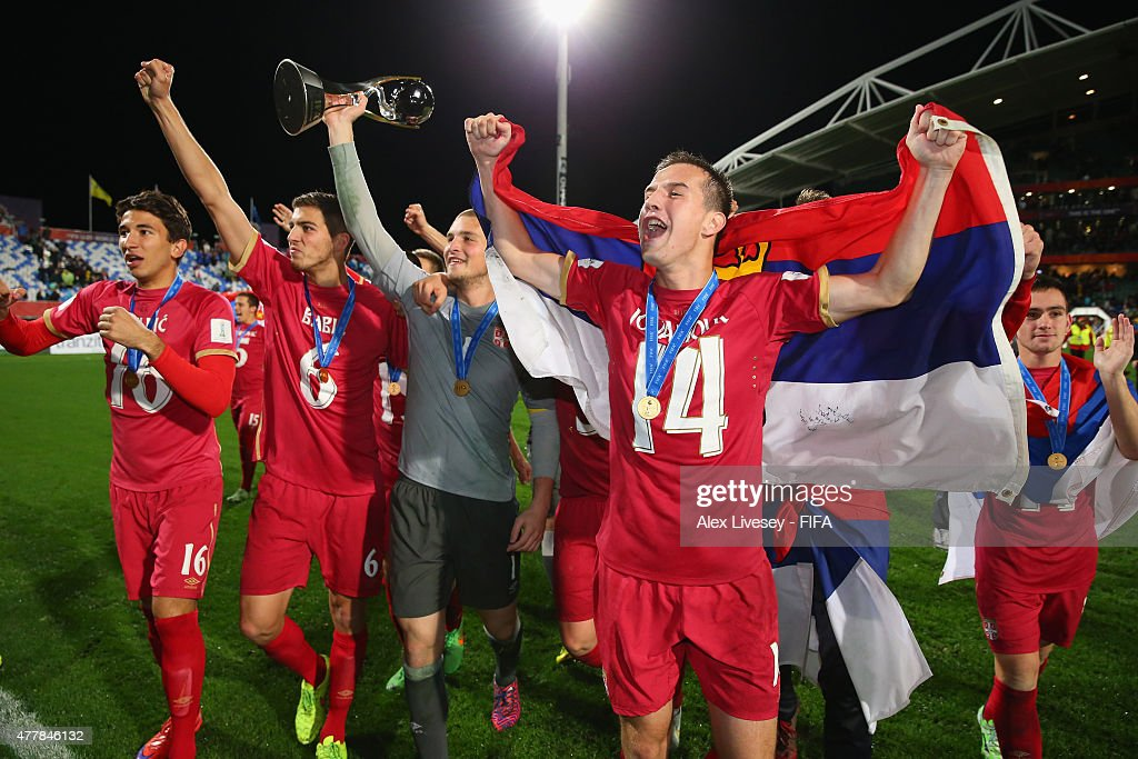 The players of Serbia celebrate beating Brazil to win the FIFA U-20 World Cup after the FIFA U-20 World Cup Final match between Brazil and Serbia at North Harbour Stadium on June 20, 2015 in Auckland, New Zealand.