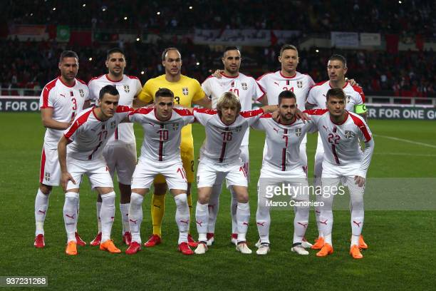 The players of Serbia line up prior to the International friendly match between Serbia and Morocco Morocco wins 21 over Serbia