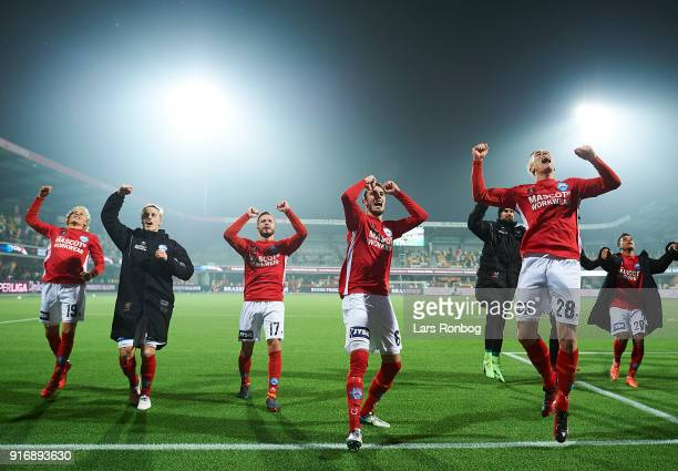 The players of Silkeborg IF celebrate after the Danish Alka Superliga match between Silkeborg IF and AaB Aalborg at Jysk Park on February 10 2018 in...