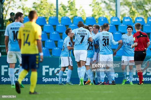 The players of SonderjyskE celebrates the 30 goal from Christian Jakobsen during the Danish Alka Superliga match between SonderjyskE and Brondby IF...