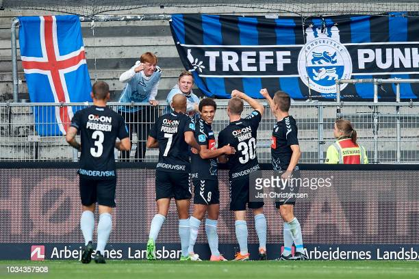 The players of SonderjyskE celebrating the 01 goal from Marcel Romer during the Danish Superliga match between Brondby IF and SonderjyskE at Brondby...