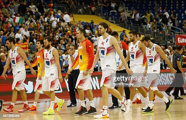 The players of Spain look dejected after losing the FIBA EuroBasket 2015 Group B basketball match between Spain and Italy at Arena of EuroBasket 2015...