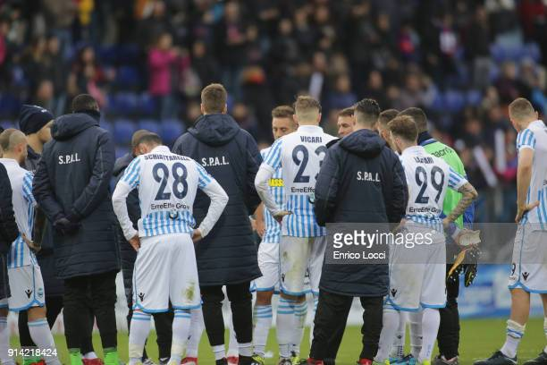 The players of Spal look dejected at the end of the serie A match between Cagliari Calcio and Spal at Stadio Sant'Elia on February 4 2018 in Cagliari...