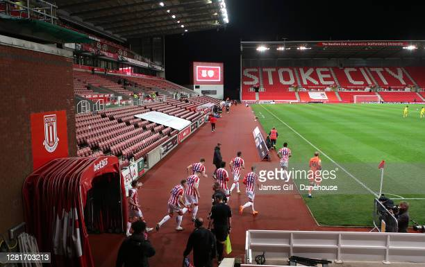 The players of Stoke City walk out prior to the Sky Bet Championship match between Stoke City and Barnsley at Bet365 Stadium on October 21 2020 in...