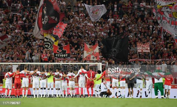 The players of Stuttgart celebrate with the fans after the Second Bundesliga match between VfB Stuttgart and VfL Bochum 1848 at Mercedes-Benz Arena...