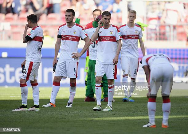 The players of Stuttgart show their disappointment after the Bundesliga match between VfB Stuttgart and 1 FSV Mainz 05 at MercedesBenz Arena on May 7...
