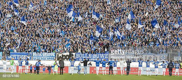 The players of SV Darmstadt thank to the fans during the first bundesliga match between SV Darmstadt 98 and Borussia Moenchengladbach at MerckStadion...
