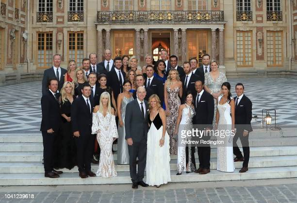 The players of Team USA pose with their wives and partners on the steps of the Palace of Versailles prior to the Ryder Cup Gala ahead of the 2018...
