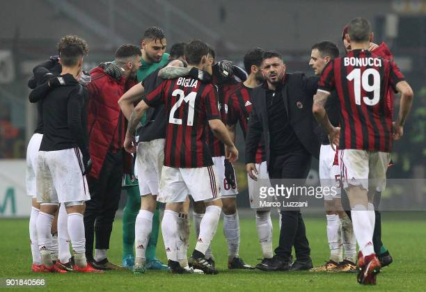 The players of the AC Milan celebrate a victory at the end of the serie A match between AC Milan and FC Crotone at Stadio Giuseppe Meazza on January...