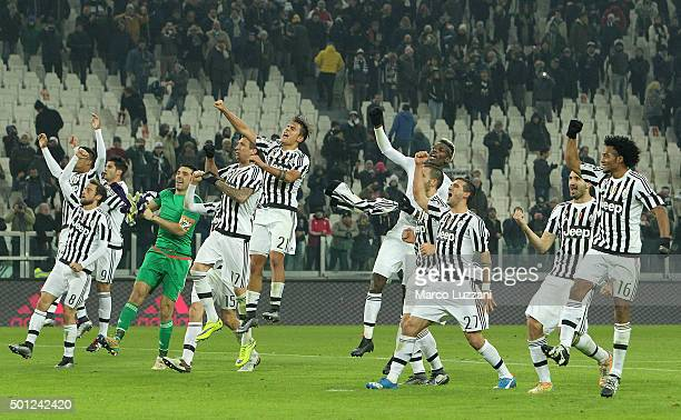 The players of the Juventus FC celebrate a victory at the end of the Serie A match betweeen Juventus FC and ACF Fiorentina at Juventus Arena on...