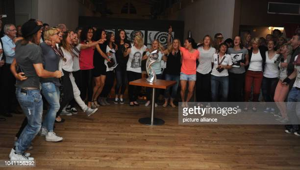 The players of the national soccer team celebrate their victory in the team hotel in Solna Sweden 27 July 2013 Germany won the final of the UEFA...