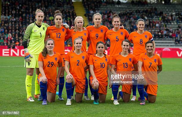 The players of the Netherlands pose prior to the Women's International Friendly match between Germany and the Netherlands at ScholzArena on October...
