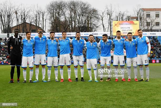 The players of the Spal pose with the celebratory jersey of the Hundred ten years before the Serie A match between Spal and Hellas Verona FC at...