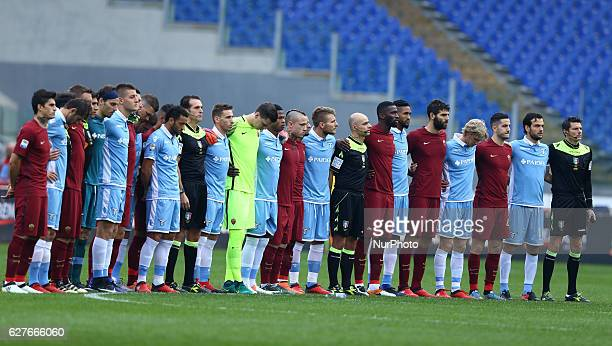 The players of the two teams togheter during the minute of silence to remember the victims of the Chapecoense football team during the Italian Serie...