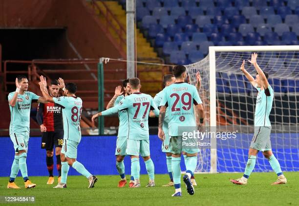 The players of Torino FC celebrate after second score of Lukic during the Serie A match between Genoa CFC and Torino FC at Stadio Luigi Ferraris on...
