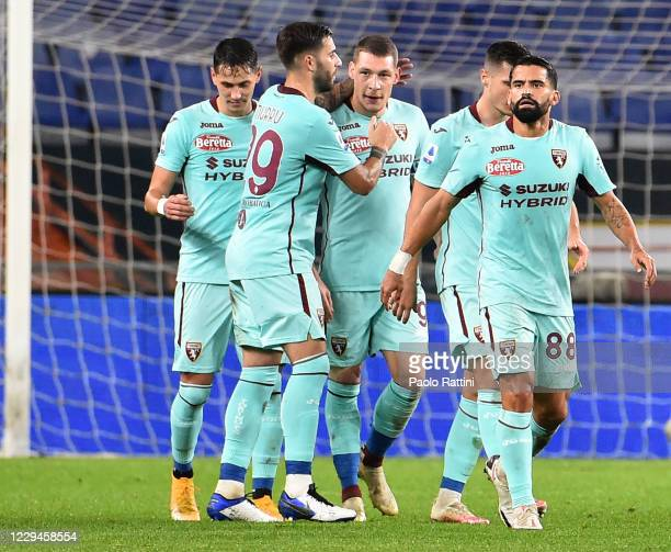 The players of Torino FC celebrate after the second score of Sasa Lukic during the Serie A match between Genoa CFC and Torino FC at Stadio Luigi...