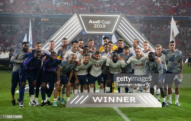 The players of Tottenham celebrate after the Audi cup 2019 final match between Tottenham Hotspur and Bayern Muenchen at Allianz Arena on July 31,...