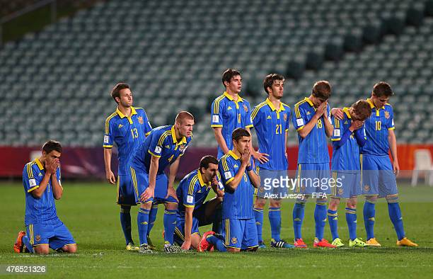 The players of Ukraine look dejected during the penalty shoot out against Senegal in the FIFA U20 World Cup round of 16 match between Ukraine and...