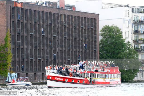 The players of Union Berlin drive with the Viktoria to Koepenick after reception in the Roten Rathaus on May 29, 2019 in Berlin, Germany.