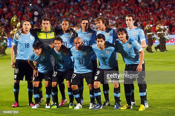 The players of Uruguay pose before a match between Chile and Uruguay as part of the 12th round of the South American Qualifiers for the FIFA World...