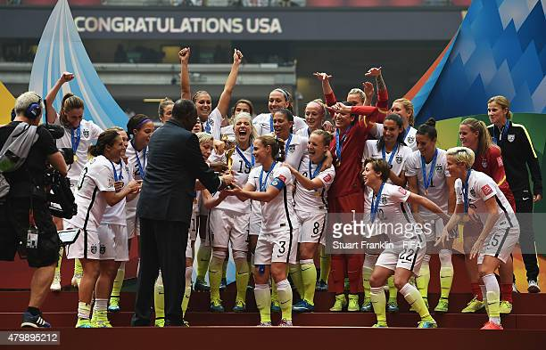 The players of USA are presented with the FIFA Women's World Cup trophy at the FIFA Women's World Cup Final between USA and Japan at BC Place Stadium...