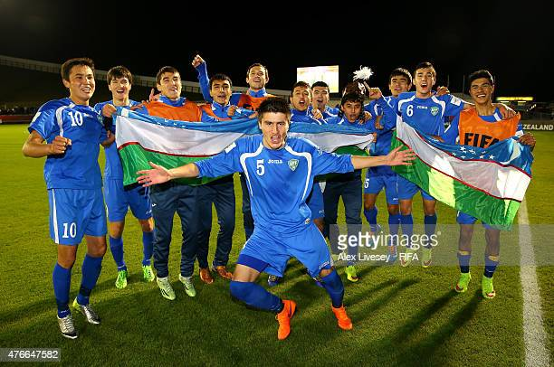 The players of Uzbekistan celebrate after victory over Austria in the FIFA U20 World Cup round of 16 match between Austria and Uzbekistan at...