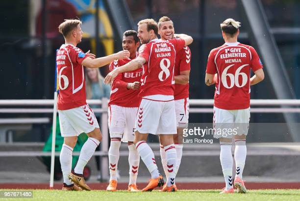 The players of Vejle Boldklub celebrate after the 10 goal scored by Imed Louati during the Danish NordicBet Liga match between Skive IF and Vejle...