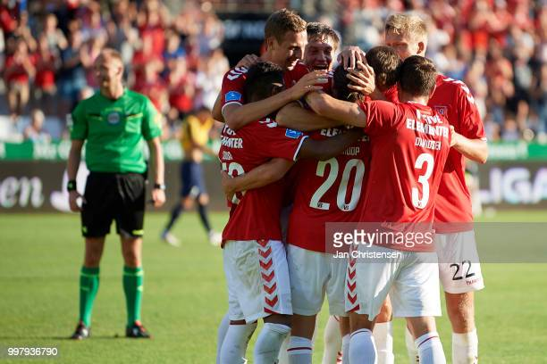 The players of Vejle Boldklub celebrate after the 31 goal from Jacob Schoop during the Danish Superliga match between Vejle Boldklub and Hobro IK at...