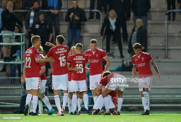 The players of Vejle Boldklub celebrate after the goal scored by Allan Sousa during the Danish Superliga match between Vejle Boldklub and Randers FC...