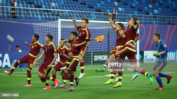 The players of Venezuela celebrate victory over Japan in the FIFA U20 World Cup Korea Republic 2017 Round of 16 match between Venezuela and Japan at...