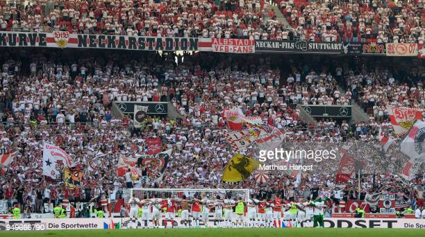 The players of VfB Stuttgart celebrate with the fans after the Bundesliga match between VfB Stuttgart and SV Werder Bremen at MercedesBenz Arena on...