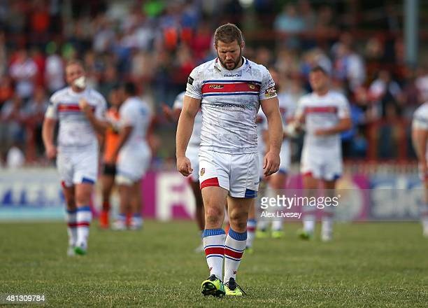 The players of Wakefield Trinity Wildcats look dejected as they leave the pitch after the First Utility Super League match between Wakefield Trinity...